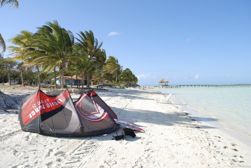 Wide open beach ideal for kiteboarding in Cuba.