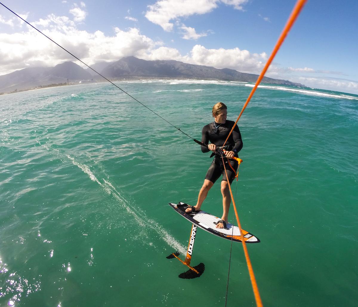 Brandon Scheid doing R&D work on Maui for the Liquid Force Foil Fish.