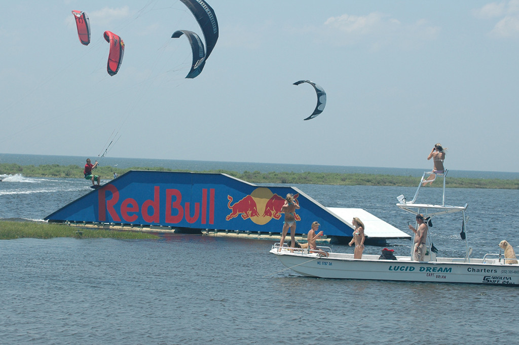The huge Redbull Fun Box was a favorite. It was the biggest thing to be built in kiteboarding and it was heaps of fun too. You could take lots of different lines over it. Gapping from the ramp to the rail wasn't one for the faint of heart. —Andre Phillip