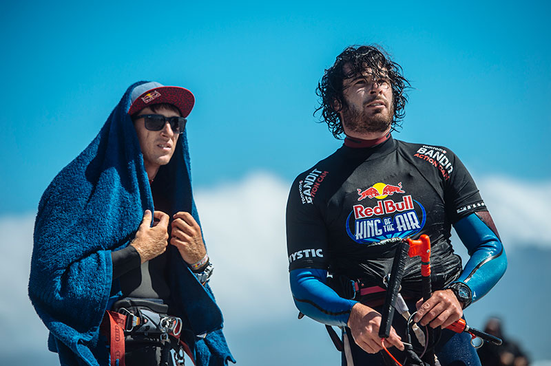 Caption: Aaron and Alex looking on at the action at the King of the Air. Their own battle for the GKA Freestyle Rider of the Year would go the distance... Photo: Tyrone Bradley / Red Bull Content Pool