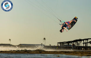 Caption: Alex training at one of his favourite spots, Cumbuco, Brazil Photo: Andre Magarao / Airush