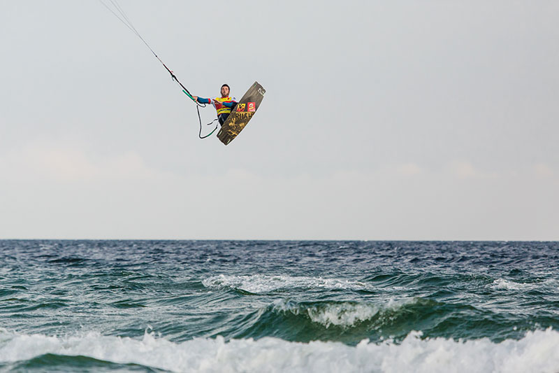 Caption: Alex going big in the late light winds in Fehmarn, Germany  Photo: Svetlana Romantsova / WKL