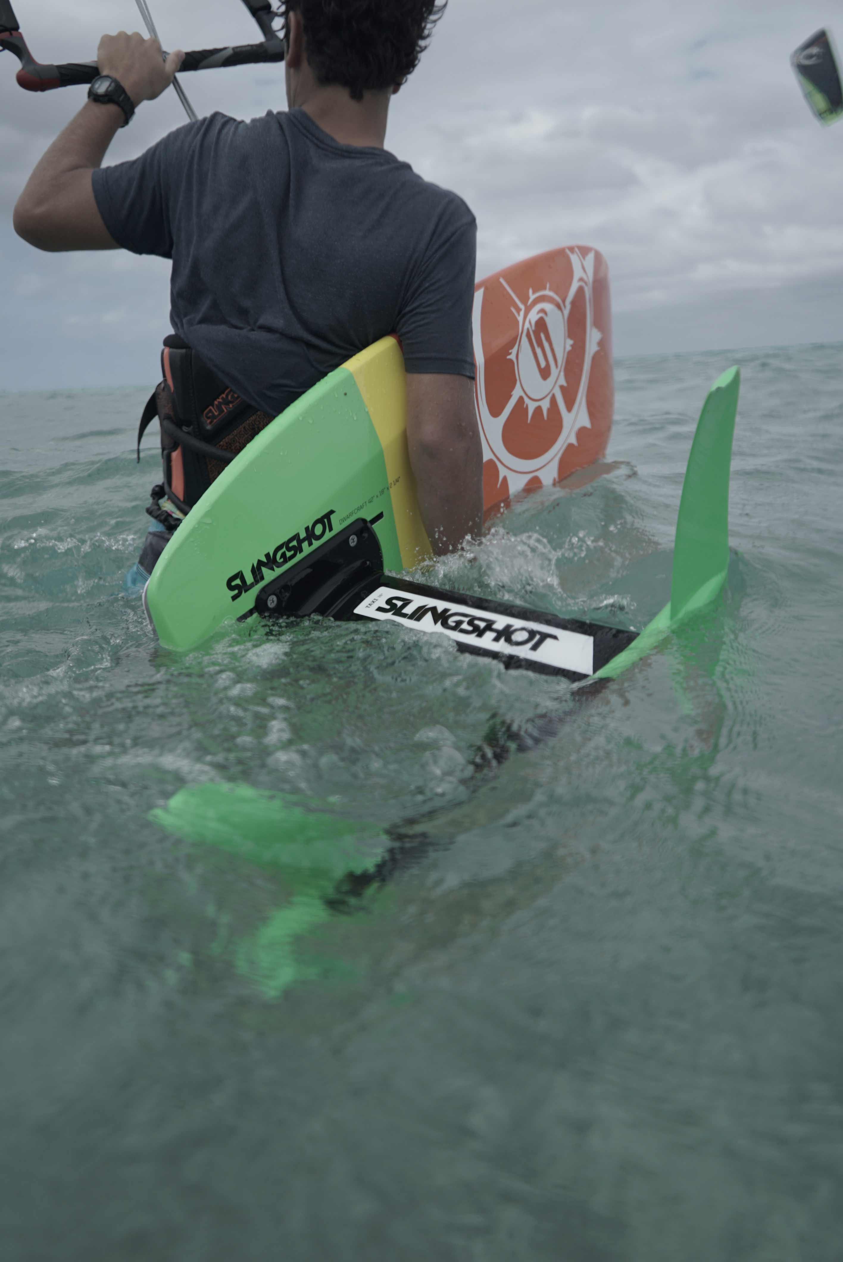 A short mast is ideal for learning hydrofoil board handling skills.