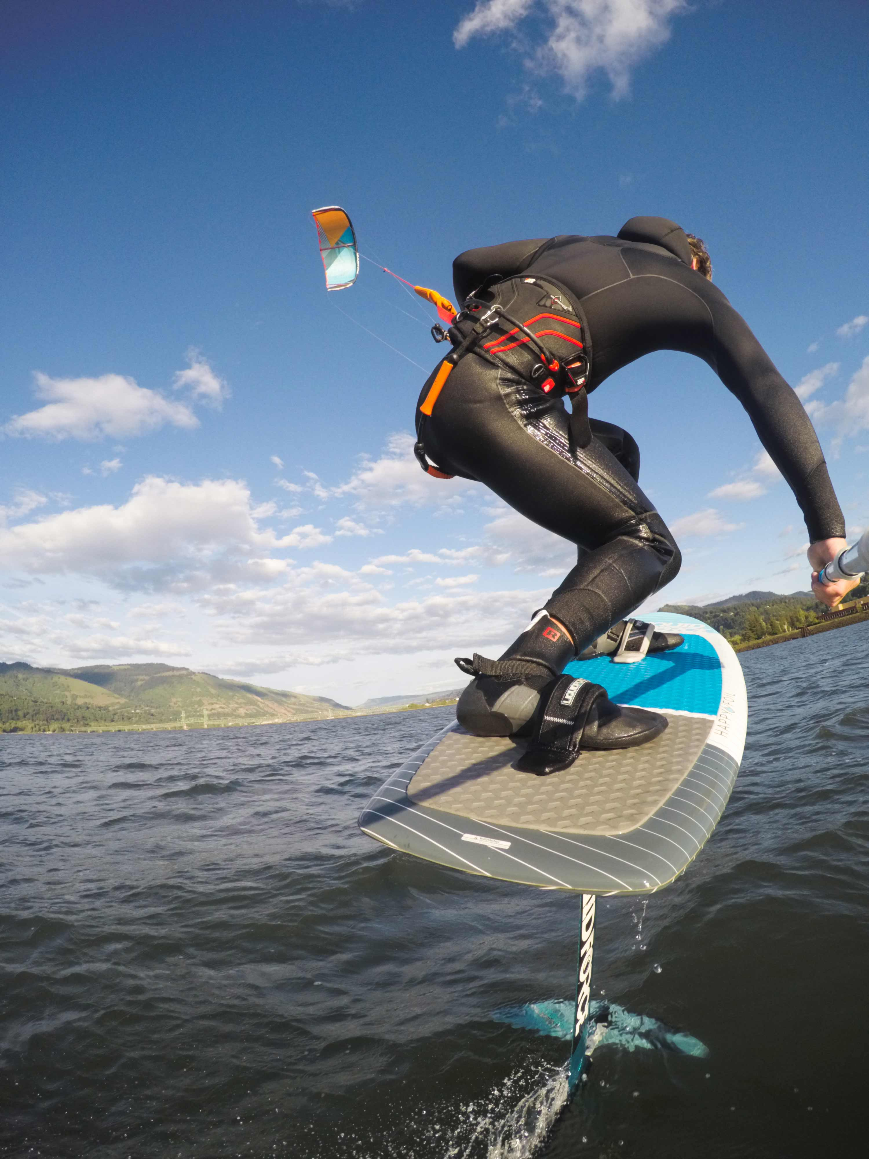 Liquid Force team rider Brandon Scheid works his way downwind in Hood River.