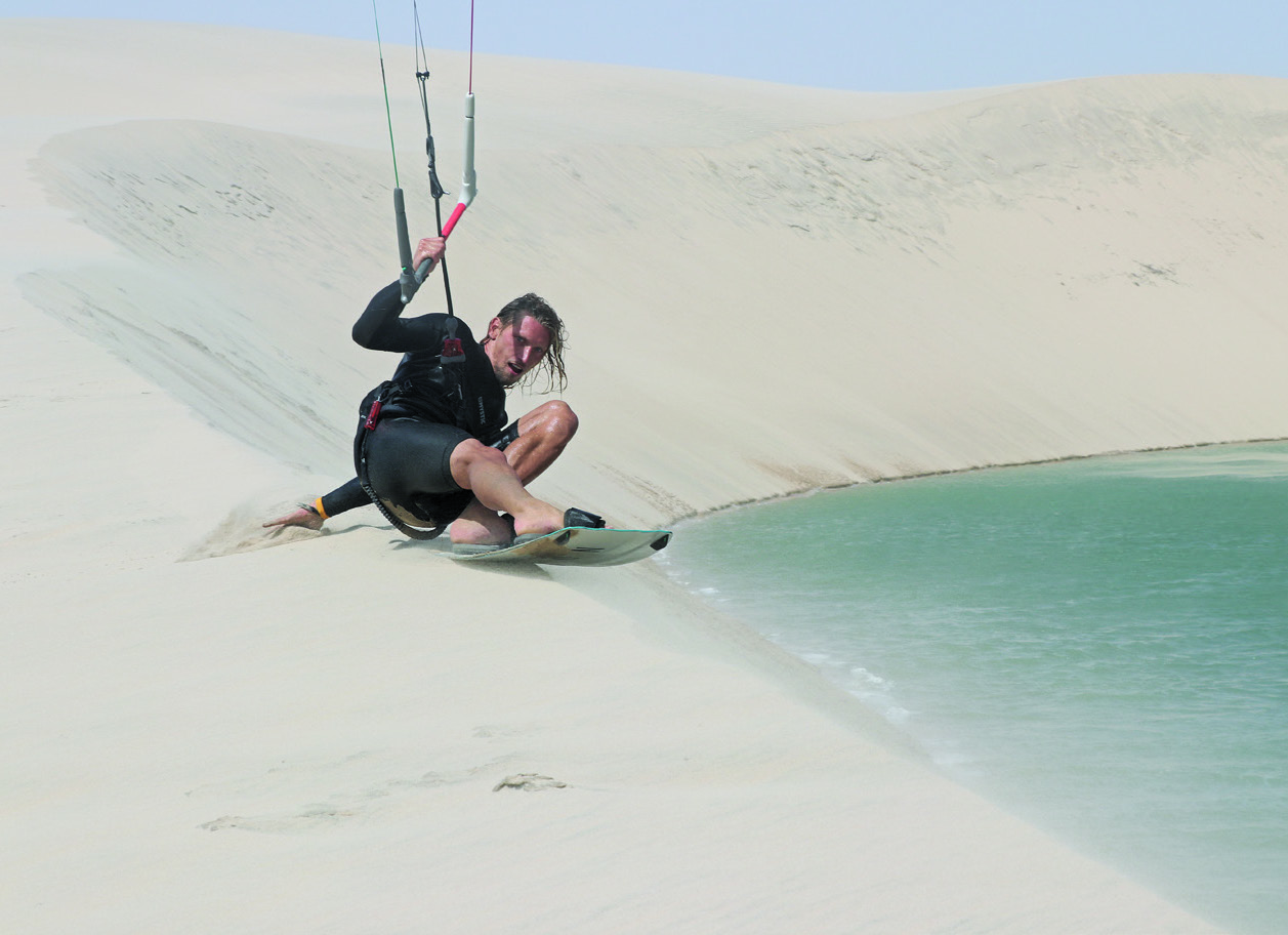 Blake from Mac Kites, does his best John Bryja impersonation at Dune Blanc.